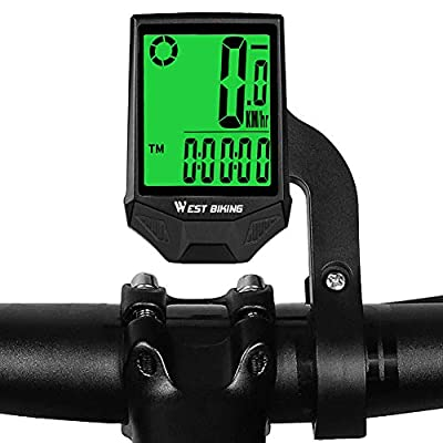 CYCLESPEED Wireless Bike Computer Waterproof Bicycle Speedometer Odometer, Support Smart SensorLCD Backlight Display Automatic Wake-up for MTB Road Cycling(18 Functions, Extension Bracket)