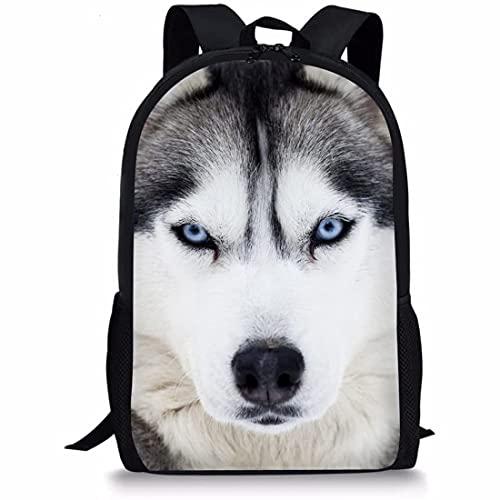 Mochila de escuela Husky animal única para niños Diseñador Niños Schoolbags
