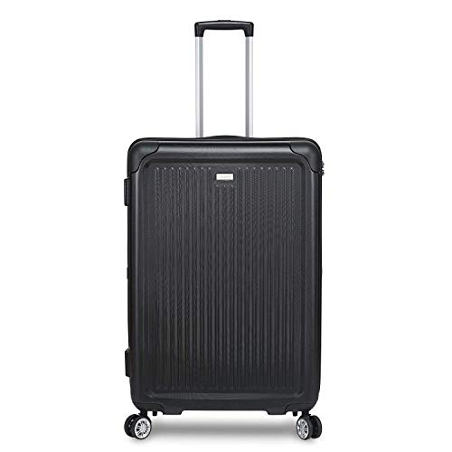 STRATIC Stripe Hartschalen-Koffer Trolley Reisekoffer Rollkoffer mit TSA-Schloss 4 Rollen besonders leicht und leise, L, Black