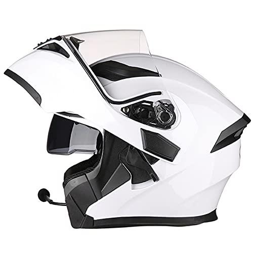 Casco modular con Bluetooth para motocicleta, tipo abatible, aprobado por ECE, visera solar doble de cara completa, motocicleta, casco modular jóvenes, hombres, mujeres,E,M 54~57cm