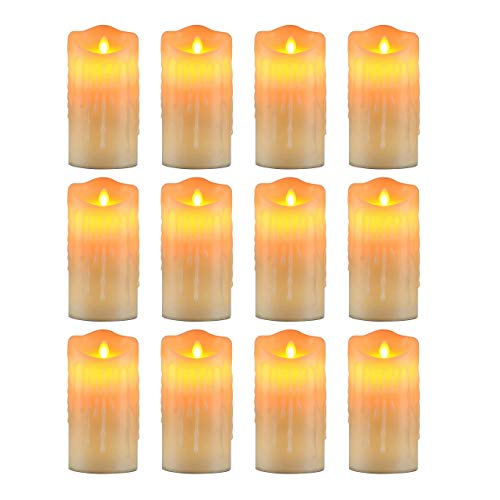 Jaimenalin Medium Flameless Candles Light Flickering Tear Shaped LED Flame Battery Electronic Real Paraffin Wax White 12 Pcs