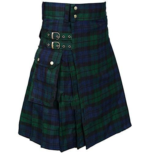 huateng Vestido escocés para Hombre Falda de montaña Tradicional Kilt de Combate Tradicional con Bolsillos