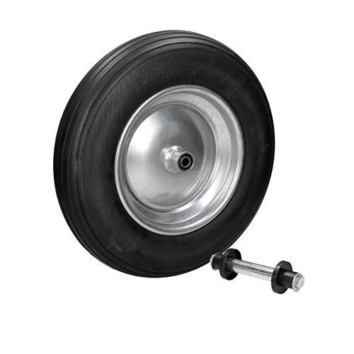 ECD Germany Schubkarrenrad aus pannensicherem PU Vollgummi mit Achse - Reifen mit Stahlfelge - 3.50-8 - Ø350 x 80 mm - Schwarz - Ersatzrad Gummirad Schubkarren Rad