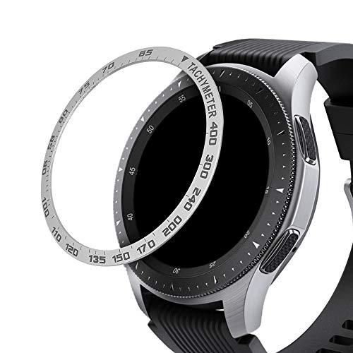 kwmobile Schutzring kompatibel mit Samsung Galaxy Watch (46mm) / Galaxy Gear S3 Frontier & Classic - Bezel Ring Lünette mit Tachymeter Skala Silber Schwarz