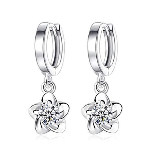 Ohrstecker Ohrring Damen 925 Sterling Silber Blumen Quaste Ohrringe Frauen Weiß Und Lila Lotus Blumen Ohrringe Geschenk -Weiß