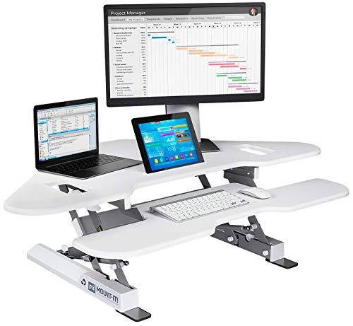 "Mount-It! White Corner Standing Desk Converter | Height Adjustable 48"" Wide Desktop | Corner Stand Up Desk with Gas Spring Handle | Stand Up Computer Workstation with Ergonomic Keyboard Tray | White"