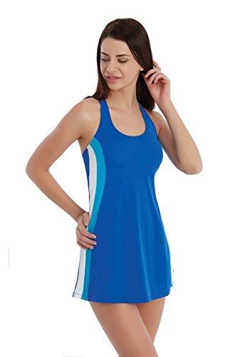 Sunset Tankini Sportief Blauw witte zwemjurk kruisrug