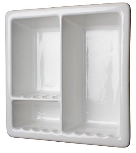 3c Sanitary 3 Section Tile Recessed Ceramic Shower Niche Shelf-Gloss White Shampoo (3 Section Ceramic)