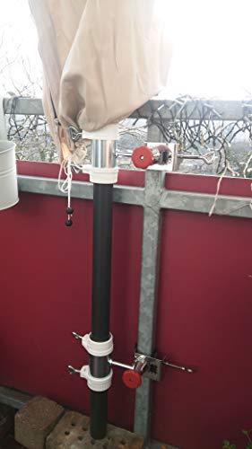 NIEUW - roestvrij staal - zonnescherm - GELÄNDER - AFSTANDS - MEERTUIDSCHIKHOUDER - 50 mm SPREIING voor schermen en stokken met opname huls tot 52 mm - gepatenteerd door Holly -