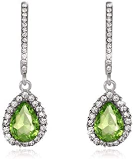 Bridal New Fashion Green Color Elegant Jewelry Rhinestones Glass Party Earrings