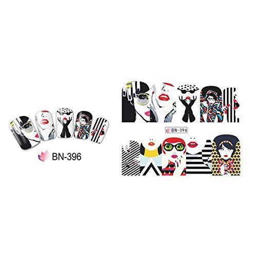 1pc 2020 Pop Art Nail Sticker Water Transfer Nails Art Decals Beauty Decor Slider Cool Girl Lips Manicure