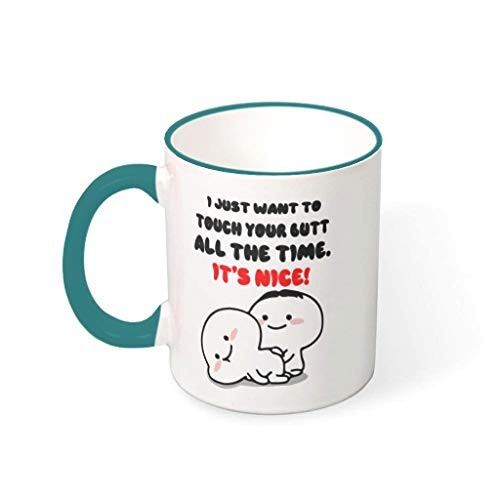 Mug Just Want to Touch Your Butt Porcelain Retro Style Mug – Funny Valentine's Day Men Gift 330 ml