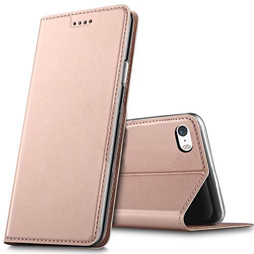 Verco Handyhülle für iPhone SE, Premium Handy Flip Cover für Apple iPhone 5S Hülle [integr. Magnet] Book Case PU Leder Tasche, Rosegold