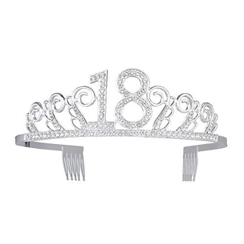 frcolor Krone Geburtstag 18Jahre Geburtstag Frauen Tiara Glas Kopfhörer mit Aufsteckkämme (Silber)