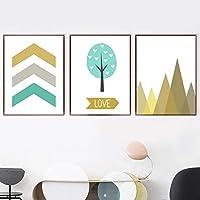 幾何学的な山の木の矢の愛の引用壁アートキャンバス絵画3ピース北欧のポスターとプリント子供部屋の装飾のための壁の写真フレームなし 60x80cm*3