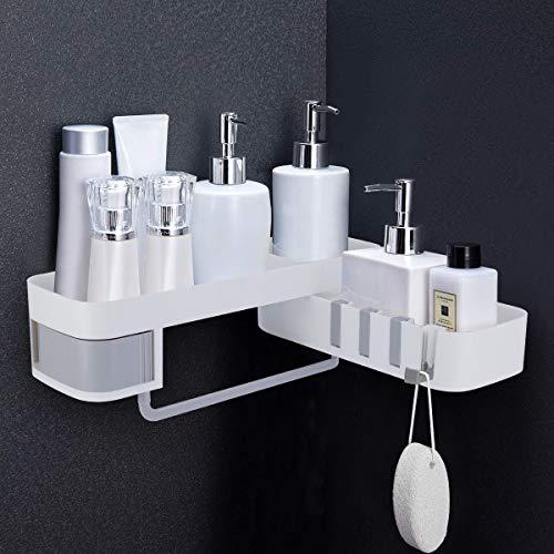 Duschablage Eckregal Ohne Bohren 180° Drehbare Selbstklebend Eckablage Duschkorb Dreieck Badablage mit 4 Klappbare Hakenleiste Duschregal für Badezimmer und Küche