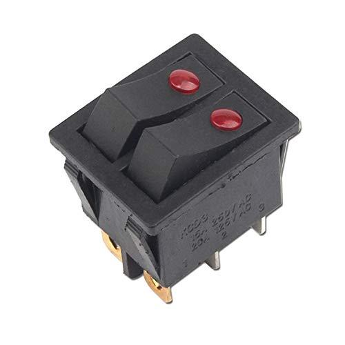 Security Accessory Botón KCD3-201 6 Pin ON/Off 31.5x26mm 15A 20A / 125V / 250V Twin Cat Eye Oye Ship Interruptor