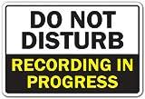 AMELIA SHARPE Cartel de metal de 30,48 x 20,32 cm, con texto en inglés «Do Not Disturb Recording In Progress», música y vídeo, estudio de radio