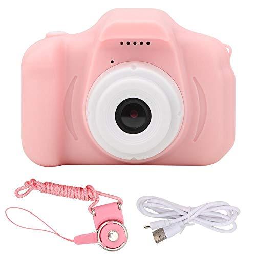 Digitale kindercamera met één lens, HD 12 MP mini-meertalige camera, kleurrijk IPS-scherm, elf instelbare talen, TF-kaartsleuf, kindercamera, cadeau (roze)