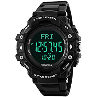TOPCABIN Men Women Teenagers Multifuction Digital Outdoor Sport Watch with Pedometer Heart Rate Monitor Electronic Sport Watch for Boys Teenagers Junior Men Women Black:Kisaran