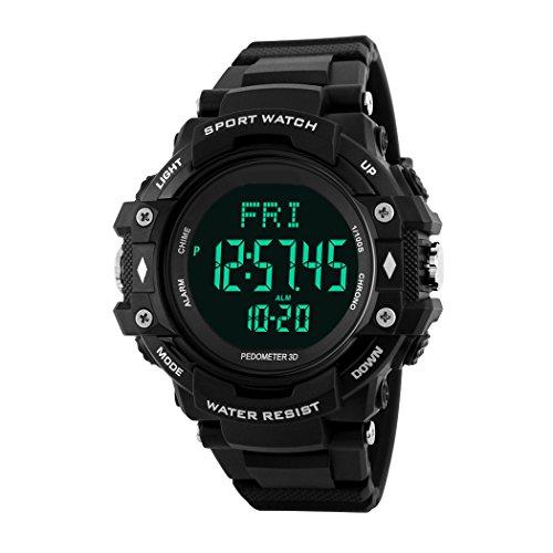 TOPCABIN Herren Uhren Wasserdicht Mikro-Digital Sport Jungen Armbanduhr mit Schrittzähler Herzfrequenz Monitor Elektronische Uhr für Männlich Schwarz