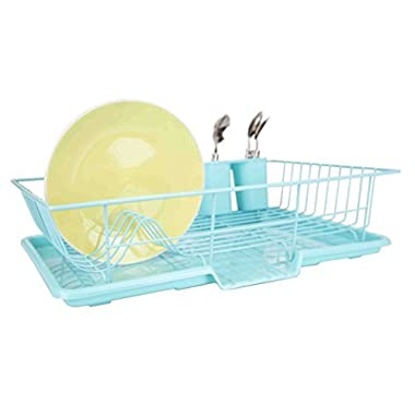 Home Basics 3-Piece Dish Drainer Set (Turquoise)