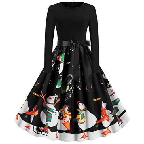 Baijiaye Dames Jurk Vintage Print Lange Mouw Kerst Avondfeest Swing Jurk Casual Party Avond Knielange Pullover Jurken Zwart XL