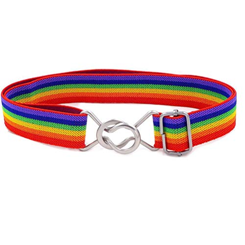Uroruns Belts Elastic Stretch Adjustable Belt For Small Boys Girls School Uniforms Pants With Easy Buckle (Rainbow),Older 3T/ Belt Length : 13'-27'