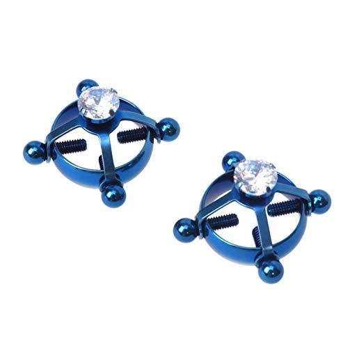 HEALLILY Non-Piercing Nipple Ring Stainless Steel Screw Breast Ring Breast Jewelry Body Piercing Jewelry for Women Girls 2 Pcs (Blue)