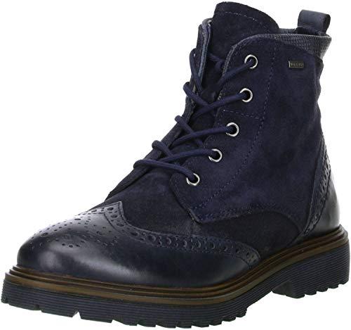 Klondike Damen Winterstiefel Stiefeletten Brogue Boots Echtleder Warmfutter dunkelblau, Größe:36, Farbe:Blau