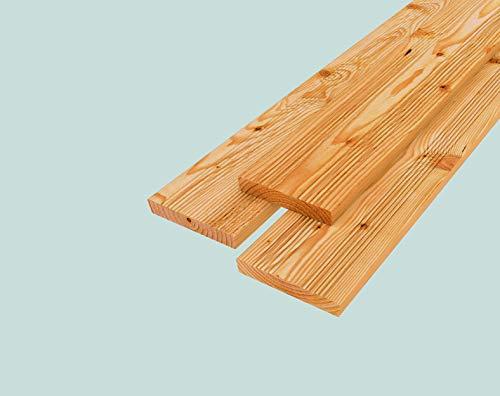 Rettenmeier 28x145x2000mm 4 Stück Terrassendiele glatt teil geriffelt gehobelt europäische Lärche Massivholz A/B-Qualität PEFC zertifiziert, Holzfarben, natur