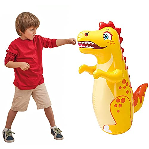 NHR Hit Me Inflated Toy for Kids Inflatable Dynosaur Toy Water Filled Base BOP for Toddlers PVC Punching Bag for Kids (Yellow)