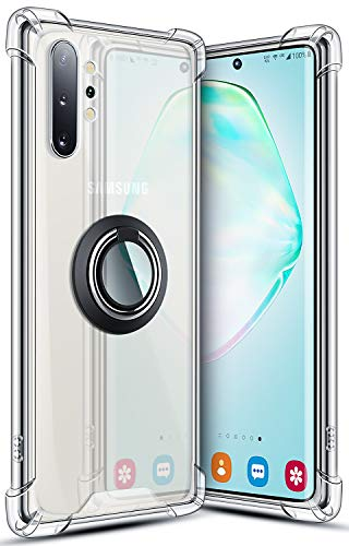 SANKMI Galaxy Note 10 Plus Case 6.8 Inch, Rugged Armor Protective Clear Ring Kickstand and Work with Magnetic Car Mount Colorful 5G Phone Case for Samsung Galaxy Note 10+ Clear