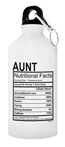 ThisWear Best Aunt Gifts Aunt Nutritional Facts First Time Aunt Gifts New Aunt Gifts for Aunt Gift 20-oz Aluminum Water Bottle with Carabiner Clip Top White
