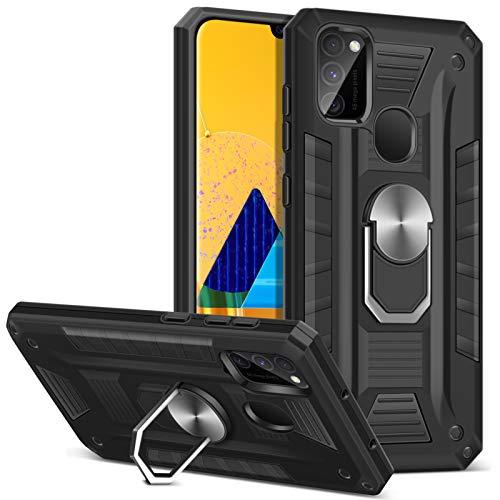 Coolden für Samsung Galaxy M30s/M21 Hülle rutschfest Outdoor Stoßfest Panzerhülle mit Ringhalter Ständer Dual Layer Hard PC + TPU Bumper Handyhülle für Samsung M30s/M21 Schutzhülle (Schwarz)