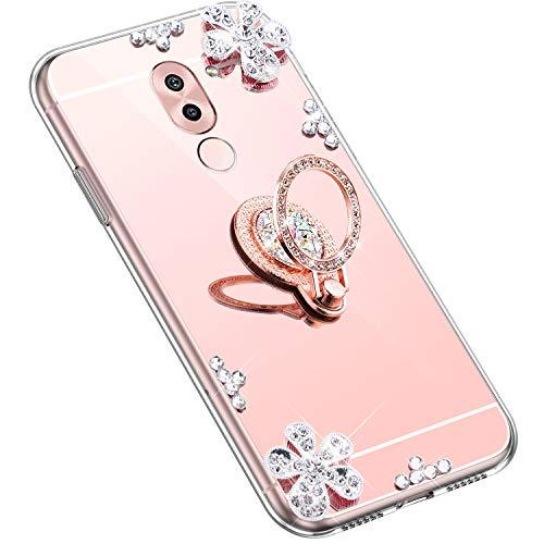 Uposao Kompatibel mit Huawei Honor 6X Hülle Glitzer Diamant Glänzend Strass Spiegel Mirror Handyhülle mit Handy Ring Ständer Schutzhülle Transparent TPU Silikon Hülle Tasche,Rose Gold