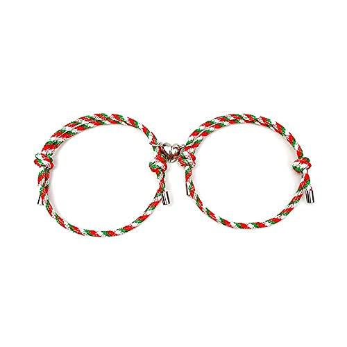 Atractivos regalos de joyería para mujeres hombres Navidad patrón de Santa Claus crissmas árbol amigo regalo para pareja imán pulsera cuerda pulsera (estilo 1)