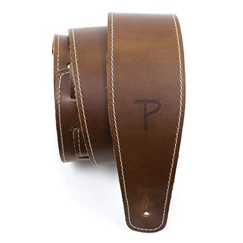 """Perri's Leathers Ltd Guitar Strap, 2.5"""" Wide Baseball Leather, Adjustable Length, (SP25S-7049) Tan, Made in Canada"""