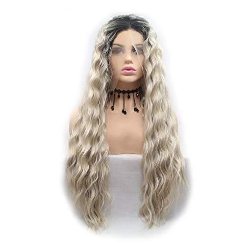 Lace Front synthetische pruiken 24 inch Golvende Golden Blonde Dame Curly pruik natuurlijke Kijken hittebestendige Cosplay Party op maat gemaakte pruiken voor vrouwen,24inch