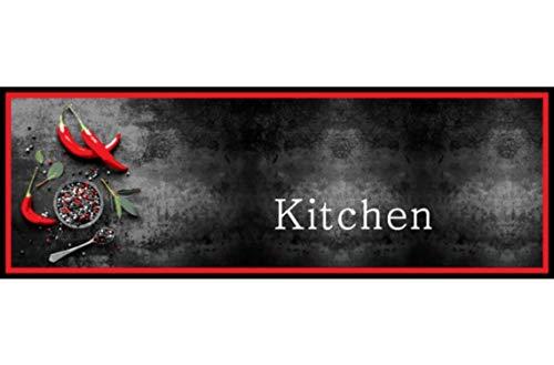 Bavaria Home Style Collection – Rutschfester und waschbarer (30°C) Design Küchenläufer | 50 x 150 cm | Motiv: Kitchen Peperoni