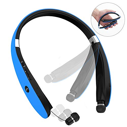Bluetooth Headphones, Bluetooth Headset Foldable Neckband Wireless Headset with Retractable Earbuds, Bluetooth V4.1, 16 Hours Playtime, Sports Sweatproof Noise Cancelling Earphones with Mic (Blue)