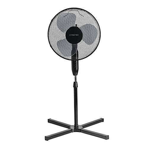 TROTEC Ventilador de Pie TVE 17 S/Silencioso / 40 W/Negro/Altura ajustable / 3 Velocidades de Ventilación/Oscilación automática de 80° / Pie de Apoyo de gran Estabilidad