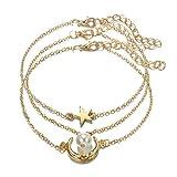YUYAN 3Pcs Perla de imitación Estrella y Luna Pulsera de Cadena de Cristal Tobilleras de pie Set Mujeres
