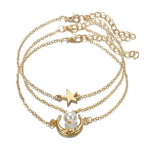 Valcano Juego de 3 pulseras y tobilleras de imitación con perlas de estrella y luna, para mujer