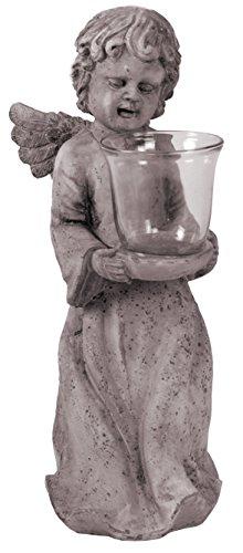 Ange debout avec bougie à chauffe-plat - 45 cm-aspect vintage shabby chic-céramique motif ange figurine de décoration