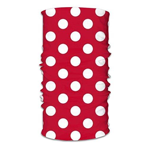 Unisex multifunctionele gezichtssjaal Rode polka witte stippen Bandana's, sport- en casual hoofddeksels Halsbeenbeschermers Headwrap Bivakmuts Hoofddoek