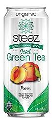 Steaz Organic Iced Green Tea, Peach, 16 oz