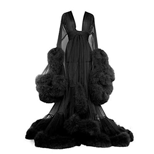 ZZYYLL Damen sexy Kimono Feder Morgenmantel Transparent Spitze Nachthemd Ausgestellte Ärmel Nachtwäsche mit Gürtel,Schwarz