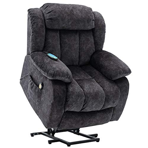 Power Massage Lift Recliner Chair with Heat & Vibration for Elderly, Heavy Duty and Safety Motion Reclining Mechanism - Antiskid Fabric Sofa Contempoary Overstuffed Design