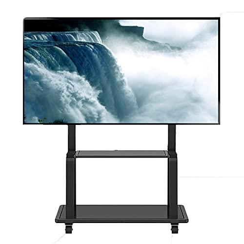 Supporto TV da pavimento Carrello TV Soporte Suelo TV para Oficina/Escuela, Carro TV Rectangular para televisores LCD LED 32/42/45/50/55/60/65/70/75 Pulgadas, Capacidad Carga 130 kg / 286,6 LB
